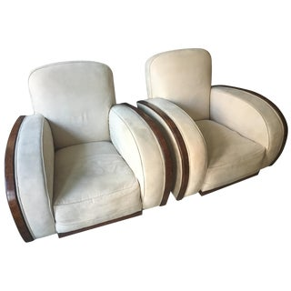 Cream Suede & Walnut Art Deco Armchairs - A Pair