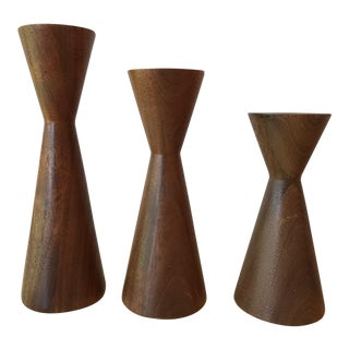 Mid Century Modern Candle Holders - Set of 3