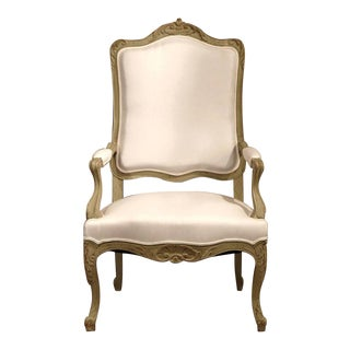 Early 19th Century French Louis XV Carved Painted Armchairs - Set of 4