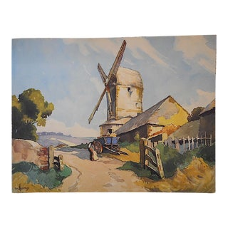 "Vintage Lithograph-England-The White Mill 16""x12"""