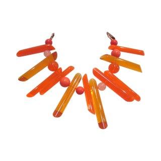 Vintage Orange Lucite Modernist Bib Prism Necklace