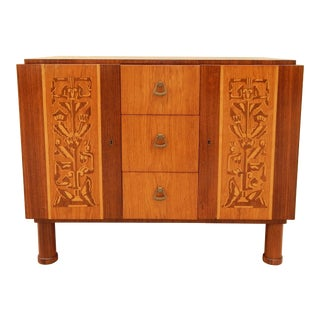 Swedish Art Deco Inlaid Cabinet or Nightstand by Erik Chambert, circa 1920