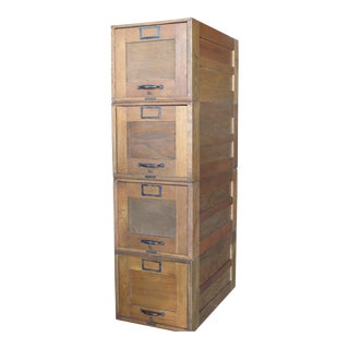 Early 1900s Amberg File & Index Co. Stackable Oak File Cabinets - Set of 4