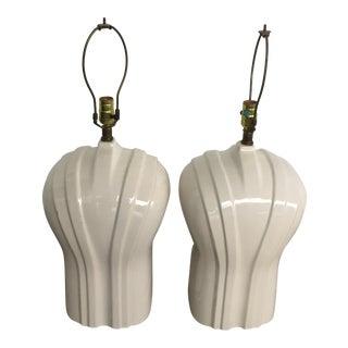 Art Deco Hollywood Regency Tuxedo Lucite Lamps - A Pair