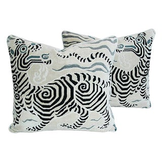 Custom Tailored Clarence House Chinoiserie Dragon Fabric Feather/Down Pillows - Pair