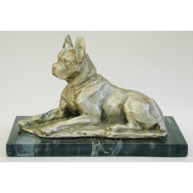 1950's Cast Metal Dog on Marble Base - Image 10 of 10