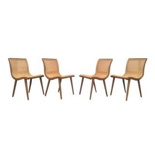 Vintage Cane & Wood Scoop Chairs - Set of 4