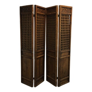 Four Paneled Antique Asian Screen