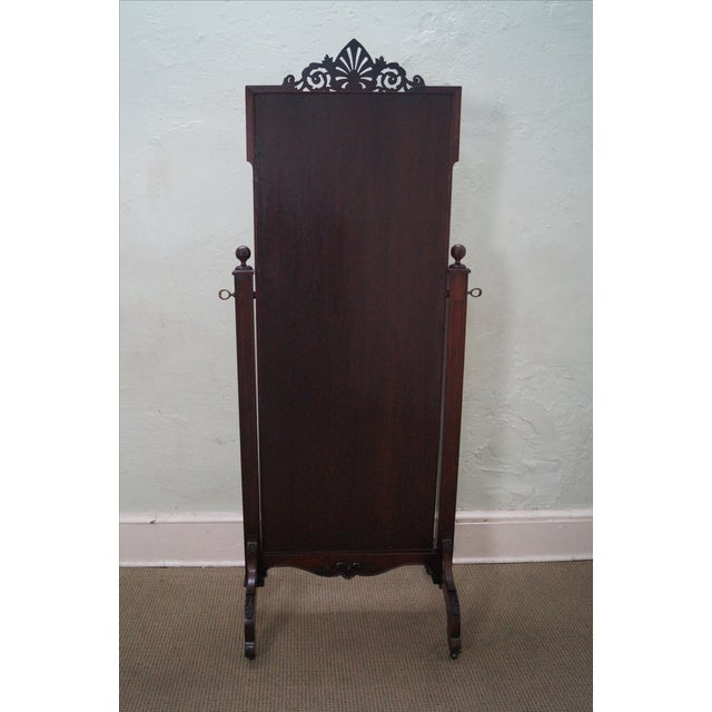 Antique Mahogany Classical Carved Cheval Mirror - Image 4 of 10