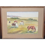 Image of California Landscape with Horses Watercolor