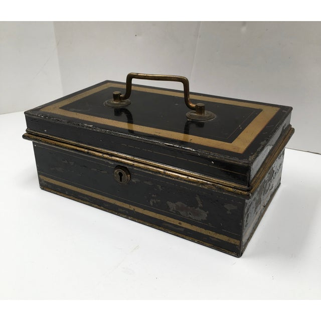 Image of Early 1900s Antique English Metal Cash Box