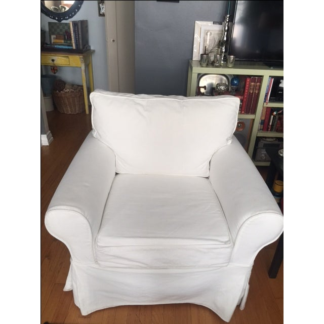 Pottery Barn White Slipcover Armchair - Image 6 of 6