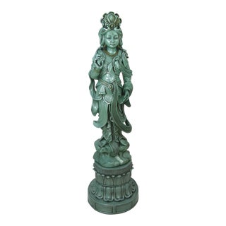 1960's Asian Goddess Plaster Statue
