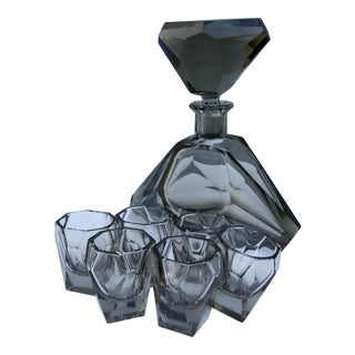 Smoked Glass Faceted 1960s Decanter Set with Six Glasses