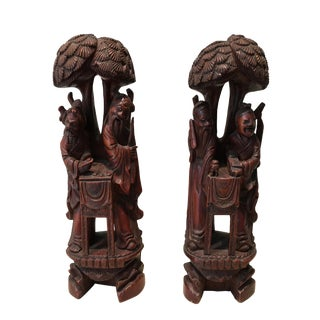 Carved Wood Figurines - A Pair