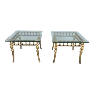 Hollywood Regency Style Aluminum & Glass Tables - A Pair