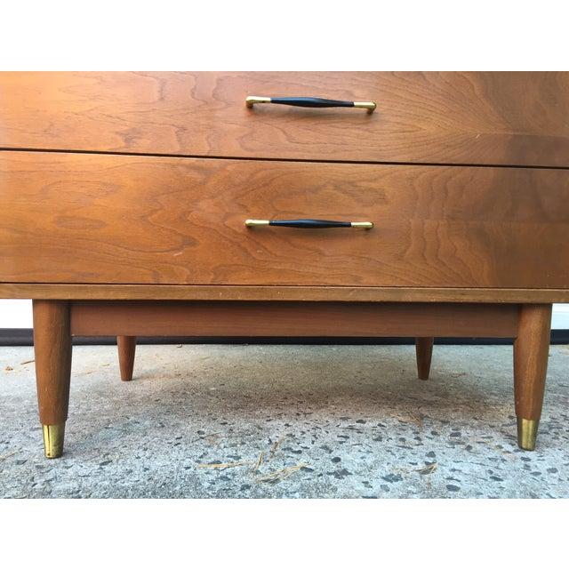 Mid-Century Modern Three Drawer Walnut Dresser - Image 4 of 8