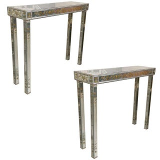 Jansen Style Verne Eglomise Console Tables - Pair