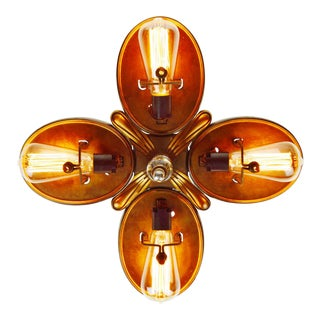 Art Deco 4 Light Flush Mount Ceiling Fixture Plate
