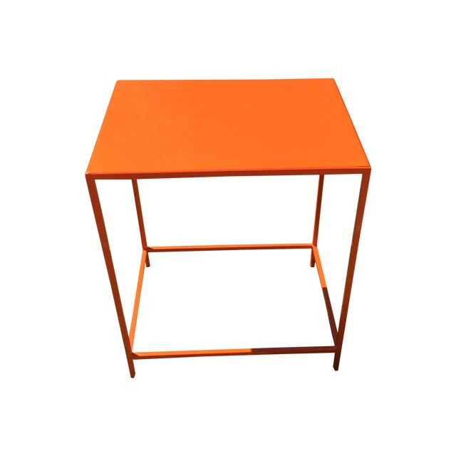 Room board slim orange side table chairish for Slim side table