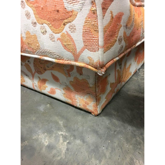 Mid Century Modern Milo Baughman Style Orange Indian Print Upholstery Plinth Base Sofa - Image 8 of 9