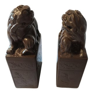 Decorative Soapstone Foo Dogs Bookends - A Pair