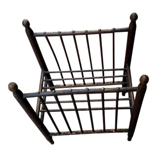 Antique Wooden Stick & Ball Magazine Rack