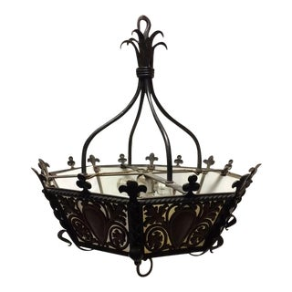 Arts & Crafts Heavy Wrought Iron Chandelier