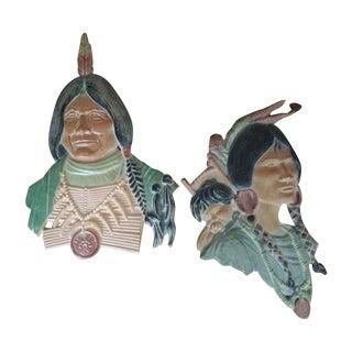 Vintage Metal Native American Wall Plaques - Pair
