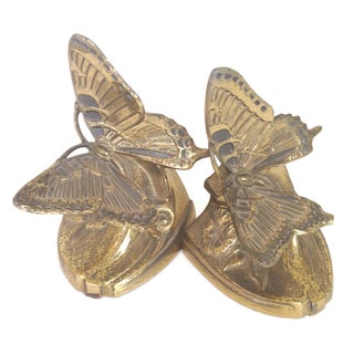 Brass Butterfly Bookends