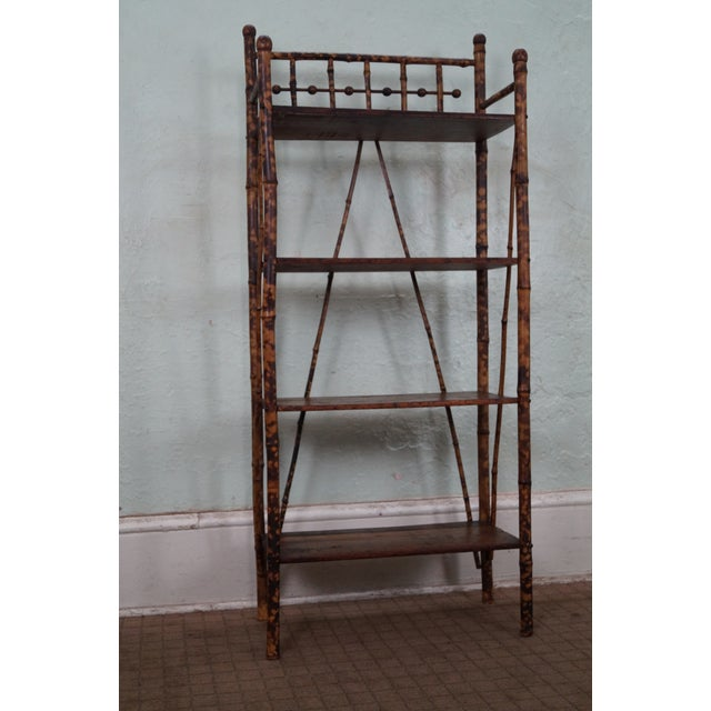 Antique 19th Century Bamboo Frame Open Bookcase - Image 2 of 5