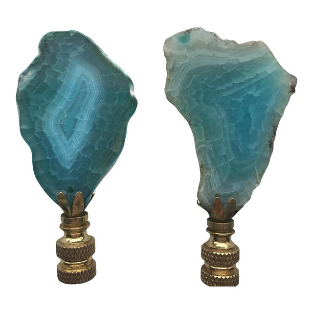 Image of Turquoise Agate Stone Lamp Finials - A Pair