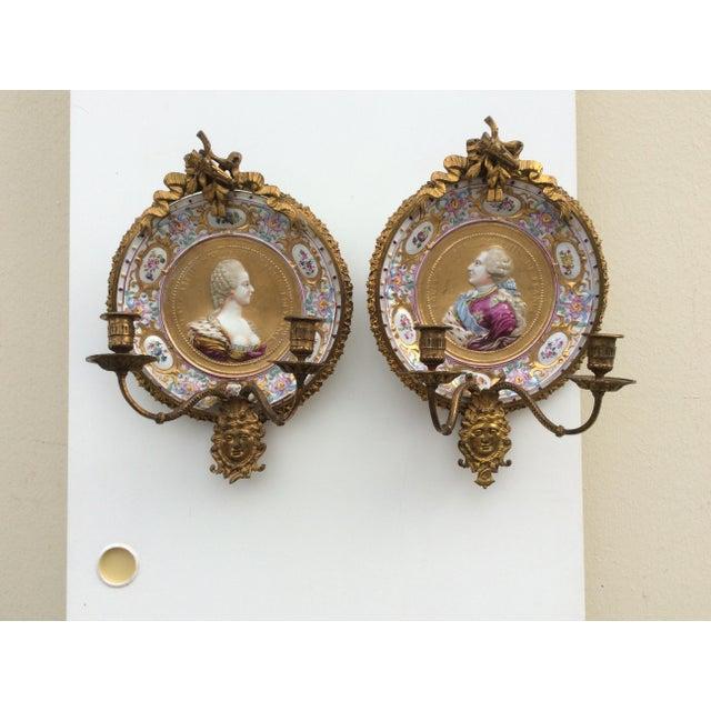 Porcelain & Bronze Royal Portrait Sconces - A Pair - Image 4 of 11
