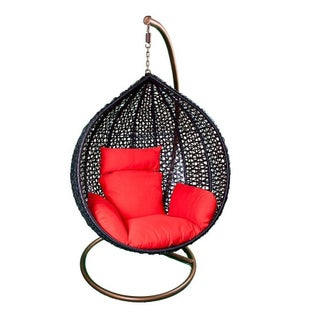 Hanging Black Rattan Chair Red Cushions