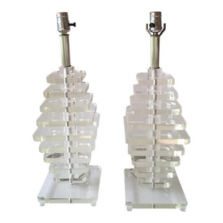 Mid-Century Karl Springer Style Stacked Lucite Lamps - A Pair