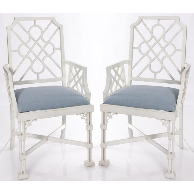 White Painted Chinese Chippendale Style Fretwork Armchairs - A Pair - Image 2 of 8
