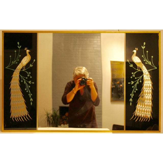 Peacock Embellished Mirror with Slim Gold Frame - Image 2 of 10