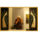 Image of Peacock Embellished Mirror with Slim Gold Frame