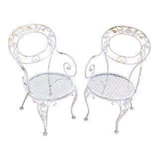 Vintage Woodard Iron Patio Chairs - A Pair