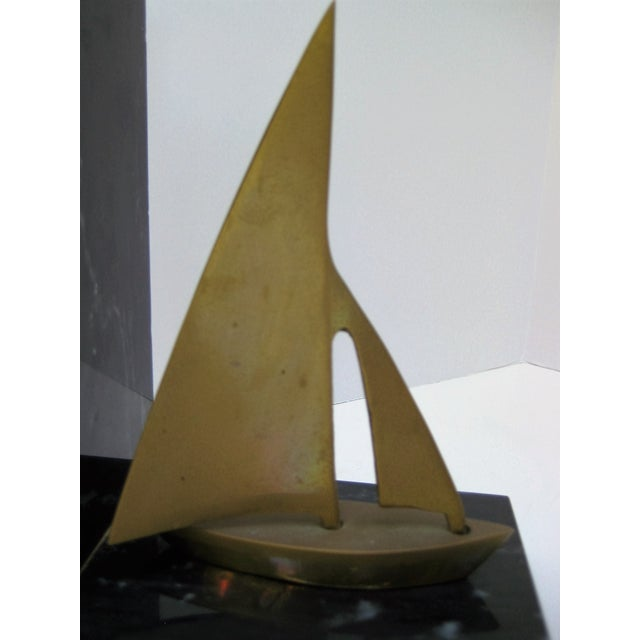 Mid-Century Brass Sailboat Bookends - Pair - Image 9 of 9