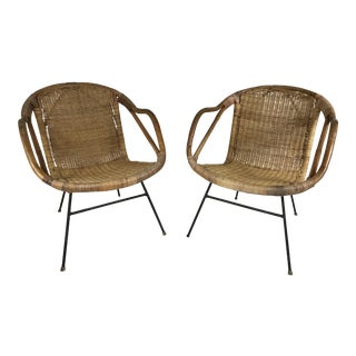 Rattan & Wrought Iron Armchairs - A Pair