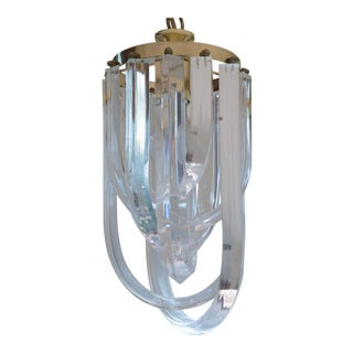 Vintage Glam Regency Lucite Ribbon Chandelier Light
