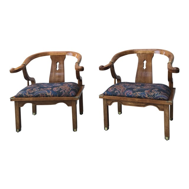 Image of Mid-Century Regency Horseshoe Chairs - A Pair