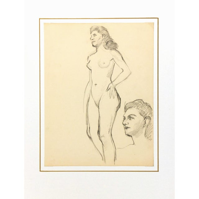 Image of Nude Graphite Drawing by Jean Ernst, C. 1940