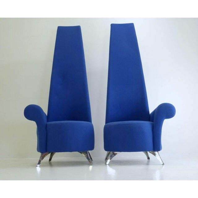 Modern Italian High Back Chairs - A Pair - Image 2 of 8