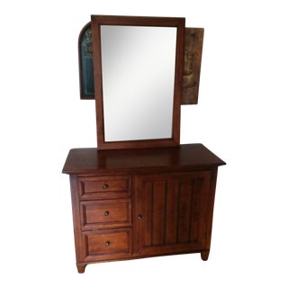 Wooden Mirror Vanity Drawer