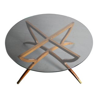 Teak Spider Base Glass Top Coffee Table
