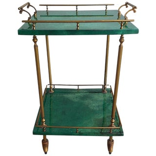 1960's Aldo Tura Green Goatskin Serving Cart/Bar