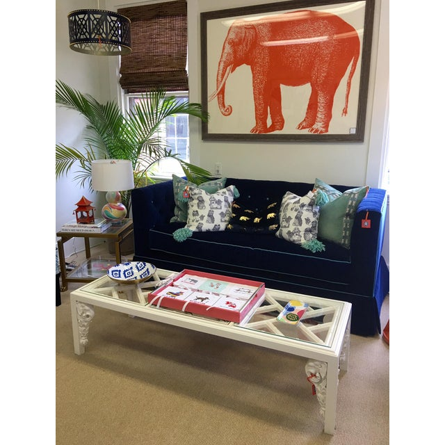 Vintage White Lacquer Elephant Coffee Table - Image 4 of 6