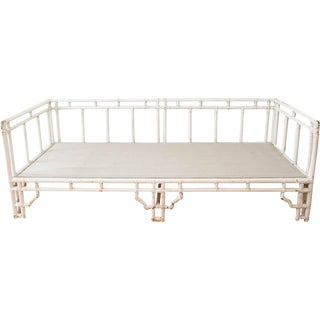 Vintage Chinoiserie Style White Bamboo Daybed